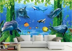 Dolphin Wall Murals for Bedrooms 3d Wallpaper Tv Background 3d Ocean Wallpaper Mural Window Rose Home