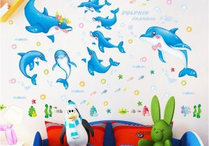 Dolphin Wall Murals for Bedrooms Shijuehezi] Dolphin Wall Stickers Animals Cartoon Wall Decals for