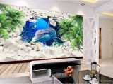 Dolphin Wall Murals for Bedrooms Wallpaper for Walls 3 D Dolphin Coconut Tree Wall Papers Home Decor