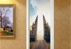 Door Size Murals Building 3d Door Sticker Wall Mural Abstract Art Wallpaper Road