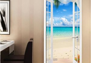 Door Size Murals Pvc Self Adhesive Door Sticker Window Sandy Beach Seascape 3d
