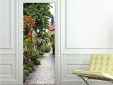 Door Size Murals Rose town Landscape Door Mural Stickers 3d Stickers Decorative Wall