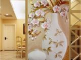 Door Size Wallpaper Murals Custom 3d Mural Wallpaper Embossed Flower Vase Stereoscopic Entrance