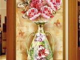 Door Size Wallpaper Murals Custom Any Size 3d Mural Wallpaper European Flower Vase Marble