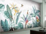 Door Size Wallpaper Murals Modern nordic Hand Painted Tropical Plants Flower Bird Leaf