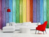 Door Size Wallpaper Murals Rainbow Colored Wood Board Wallpaper Modern Art Interior Decoration