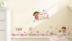 Dora the Explorer Wall Mural Dora the Explorer with Flowers Wall Stickers for Kids Room Baseboard Home Decoration Cartoon Nursery Mural Art Children S Decals