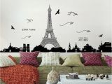 Dorm Room Wall Murals Penate Eiffel tower Wall Stickers Living Room Bedroom Dormitory Decor Environmental Wallpaper