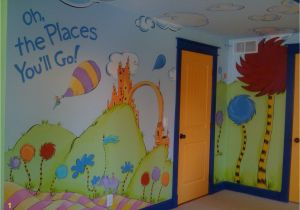"Dr Seuss Wall Mural Dr Seuss Mural ""oh the Places You Ll Go "" Children S Playroom"