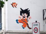"Dragon Ball Wall Mural Artist Space Invader Kamehameha "" songoku Dragon Ball"