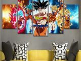 Dragon Ball Z Wall Mural 5 Panel Anime Dragon Z Ball Goku Modern Décor Canvas Wall Art Hd Print