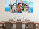 Dragon Ball Z Wall Mural Dbs Happy Family asymmetrical 5pcs Wall Art Canvas