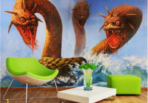 Dragon Wall Murals Large Beibehang Tapety Hd 3d Wallpaper Stereo 3 Dragon Head Snake