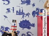 Dragon Wall Stickers Murals Ere Be Dragons Blue
