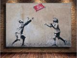 Drawing Murals On Wall 2019 Unframed Framed Mural by Banksy 2 Canvas Prints Wall Art Oil Painting Home Decor 24×36 From Mingfeng2018 $5 98