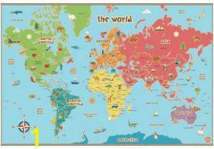 Dry Erase World Map Wall Mural Kids World Map Wall Sticker