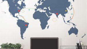 Dry Erase World Map Wall Mural Wallpops Destination World Map Wall Decal
