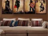 Early American Wall Murals 4 Pieces Superhero Hand Painted Canvas Oil Paintings Modern