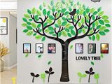 Early American Wall Murals Family Tree Wall Decals 3d Diy Frame Acrylic Wall Stickers Mural for Living Room sofa Tv Art Wall Background Lovely Tree Green