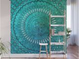 Easy Off Wall Murals Turquoise Mandala Wall Mural by Davidzydd