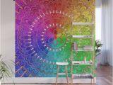 Easy Peel Wall Murals Rainbow Feather Mandala Wall Mural