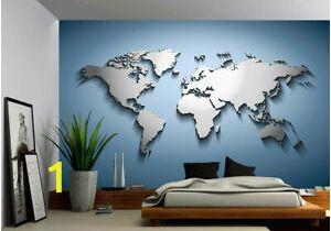 Ebay Wall Murals Wallpaper Details About Peel & Stick Mural Self Adhesive Vinyl Wallpaper 3d Silver Blue World Map