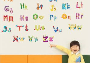 Educational Murals for Walls English Alphabet Cartoon Animals Wall Stickers Kids Room Nursery Wall Mural Poster Art Early Education Wallpaper Decals Hanging Graphic Decal Wall