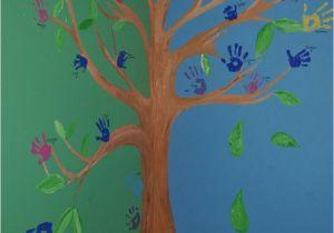 Educational Murals for Walls Family Handprint Tree Wall Mural Ideas Pinterest