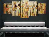 Egyptian themed Wall Murals 5pcs Abstract Ancient Egyptian Decorative Oil Painting
