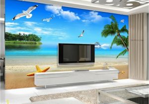 Electronic Wall Murals Beibehang 3d Wallpaper Sea Seaside Scenery Beach Mediterranean Style