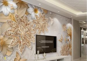 Electronic Wall Murals Jewelry Flower butterfly Mural Wallpaper Modern Bedroom