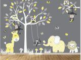 Elephant Wall Mural Nursery Jungle Wall Decal Tree Giraffe Elephant Monkey Nursery Wall