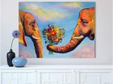 Elephants On the Wall Murals 2019 Wall Art for Living Room Colorful Elephant Couple Flowers Animal Painting Canvas Oil Painting No Frame From Cocoart2016 $26 77