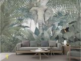 Elephants On the Wall Murals 3d Wallpaper Custom Mural Landscape nordic Tropical Plant Coconut Tree Animal Elephant Landscape Tv Murals Wallpaper for Walls 3 D Wallpaper to