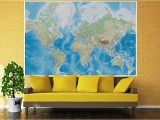 Environmental Graphics Giant World Map Wall Mural Dry Erase Surface Mural – World Map – Wall Picture Decoration Miller Projection In Plastically Relief Design Earth atlas Globe Wallposter Poster Decor 82 7 X 55