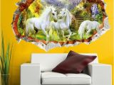 Equestrian Wall Mural 3d Effect Unicorn Paradise Through Wall Stickers for Kids Rooms