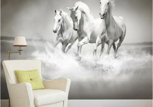 Equestrian Wall Mural Beautiful Hd White Horse Running 3d Stereo Mural Wallpaper