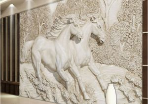 Equestrian Wall Mural Custom Mural Wallpaper 3d Stereo Relief White Horse Wall