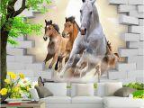 Equestrian Wall Mural Custom Wallpaper 3d Stereo Horse Broken Wall Mural Brick Wall