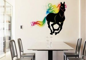Equestrian Wall Mural Sk9054 Running Horse Wall Sticker 3d Colorful Horse Tail Wall Decals