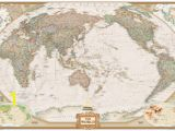 Executive World Map Wall Mural National Geographic Pacific Centered World Map Executive Antique