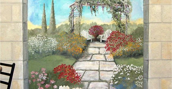 Exterior Mural Paint Garden Mural On A Cement Block Wall Colorful Flower Garden Mural