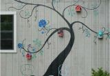 Exterior Murals Outdoor Wall Murals Tree Mural Brightens Exterior Wall Of Outbuilding or Home