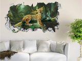 Fabric Mural Wall Art 3d forest Leopard Roar 44 Wall Murals Wall Stickers Decal