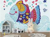 Fabric Mural Wall Art Kids Wallpaper Cartoon Fish Wall Mural Abstract Fish Drawing Wall Art Childroom Baby Room