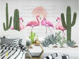 Fabric Mural Wall Art Kids Wallpaper Flamingo Wall Mural Cactuses Wall Art Sunrise Landscape Wall Decor Girls Boys Bedroom Childroom