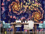 Fabric Mural Wall Art Modern Dreamy Golden butterfly Flower Wall Murals