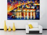 Fabric Mural Wall Art Palette Knife Oil Painting Water City Architecture Castle Cityscape Mural Art Picture Canvas Prints Home Living Hotel Fice Wall Decor