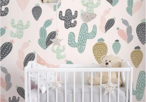 Fabric Murals for Walls Cactus Pastel Wall Mural Self Adhesive Fabric Wallpaper