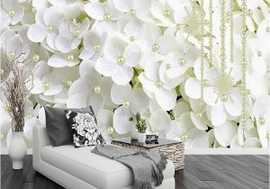Fabric Murals for Walls Custom Mural Wallpaper 3d White Pearl Jewelry Flowers Wall Cloth
